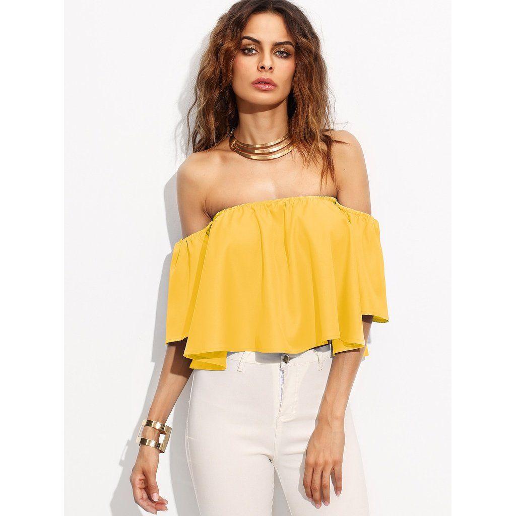 6a3e2161258 Yellow Off Shoulder Crop Top