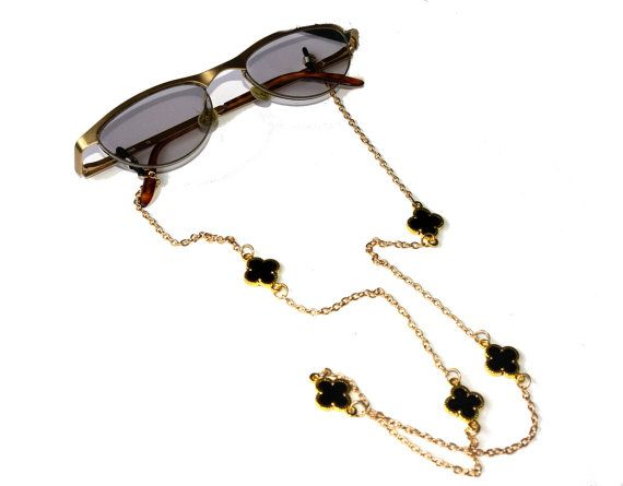 Black Clover Eye Glass Chain Holder Necklacesunglasses
