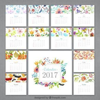 Aguarela calendário florido 2017                                                                                                                                                                                 Mais