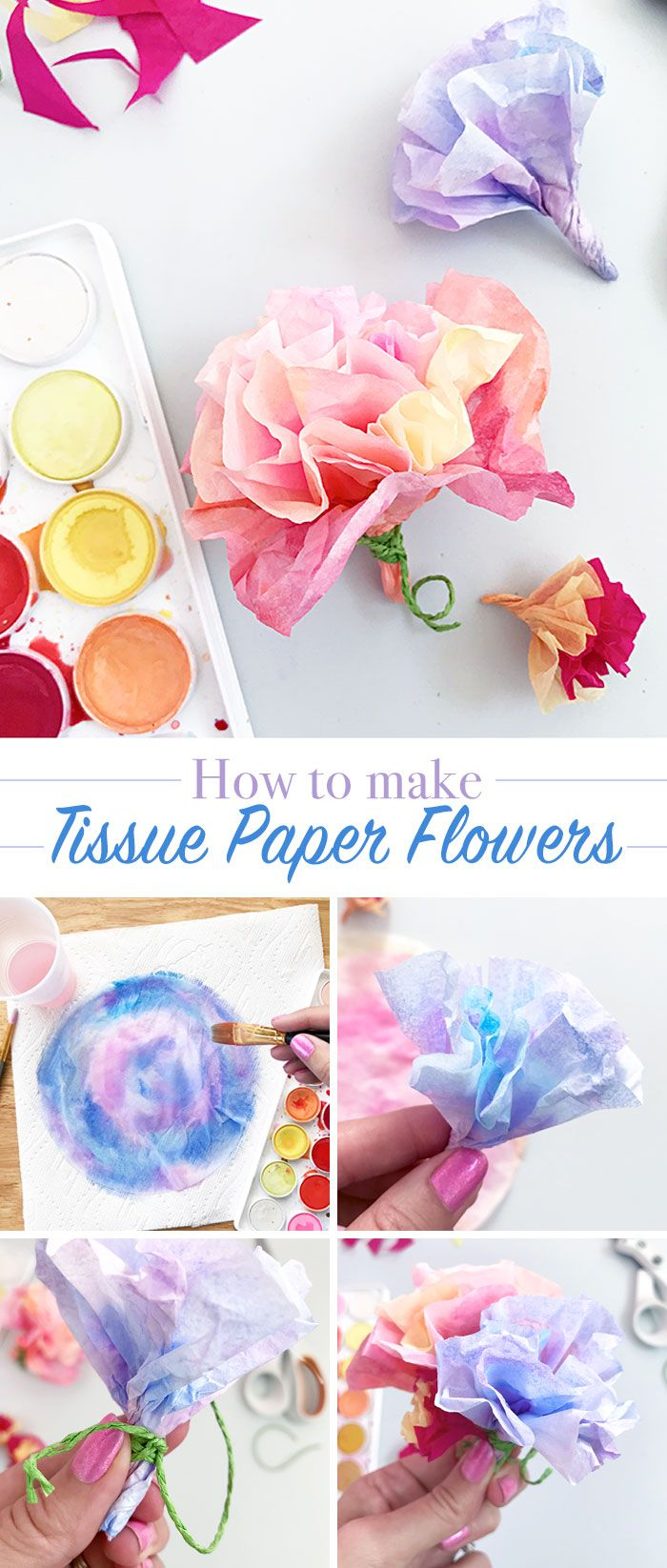 Make Easy Tissue Paper Flowers Kids Craft Ideas Pinterest