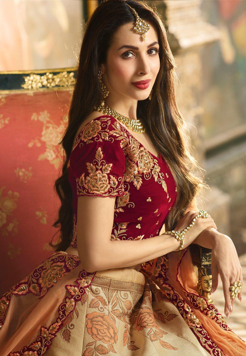 Buy malaika arora khan beige and maroon indian wedding