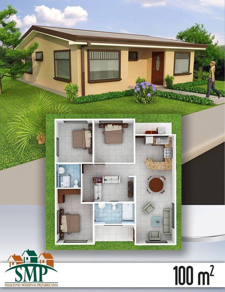 3 habitaciones dise o de interiores casas planos de for Planos de casas pequenas de una planta