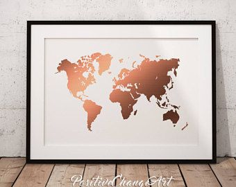 Rose gold decor rose gold wall art geometric poster geometric rose gold decor rose gold map rose gold world map rose gold print gumiabroncs Images