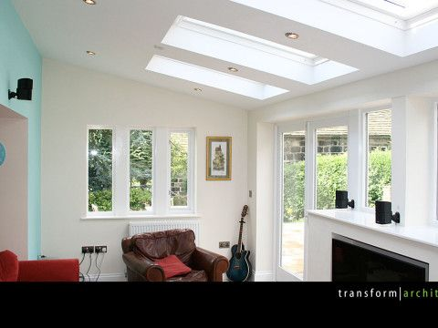 Lean-to extension exposed soffit and roof lights | Extension kitchen ...