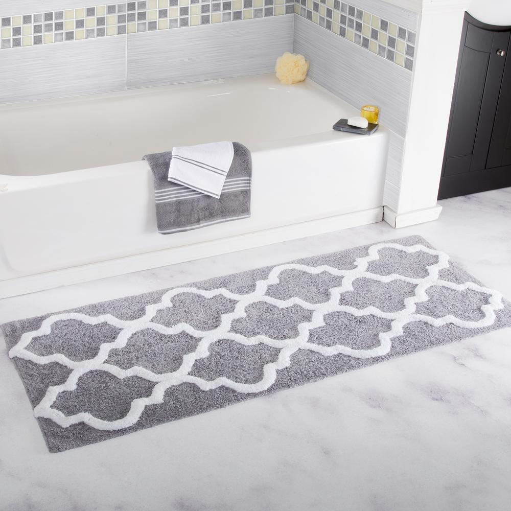 Lavish Home Trellis Silver 24 In X 60 In Bathroom Mat 67 0029 S The Home Depot Bath Rugs Bathroom Mats Lavish Home [ 1000 x 1000 Pixel ]
