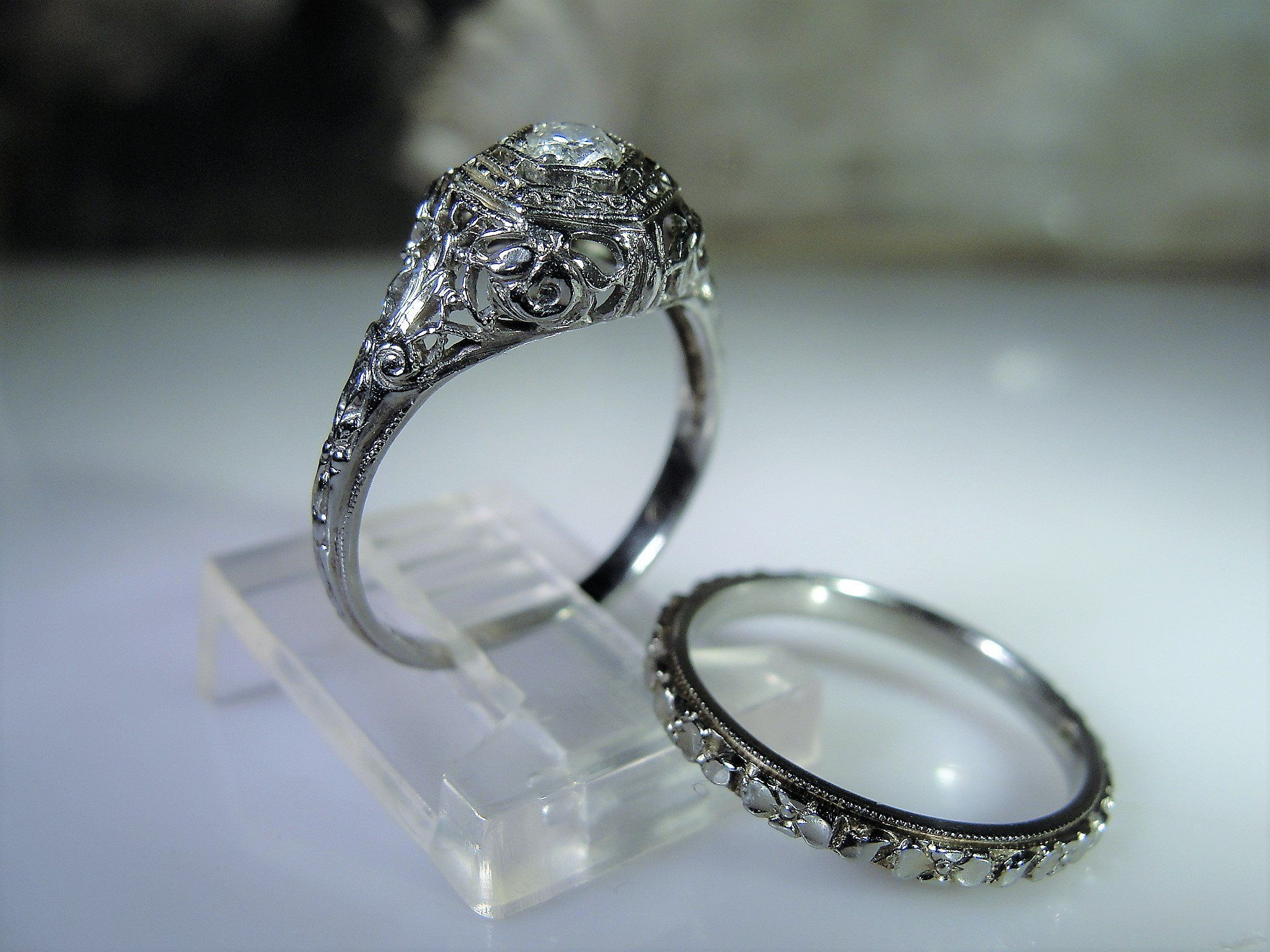 It is a picture of Reserved for Elliott: Edwardian Bridal Ring Set Wedding Rings