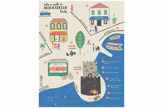 photo relating to Printable Map of Sicily titled Printable Sicilian Village Map Artwork Print, Quick Obtain