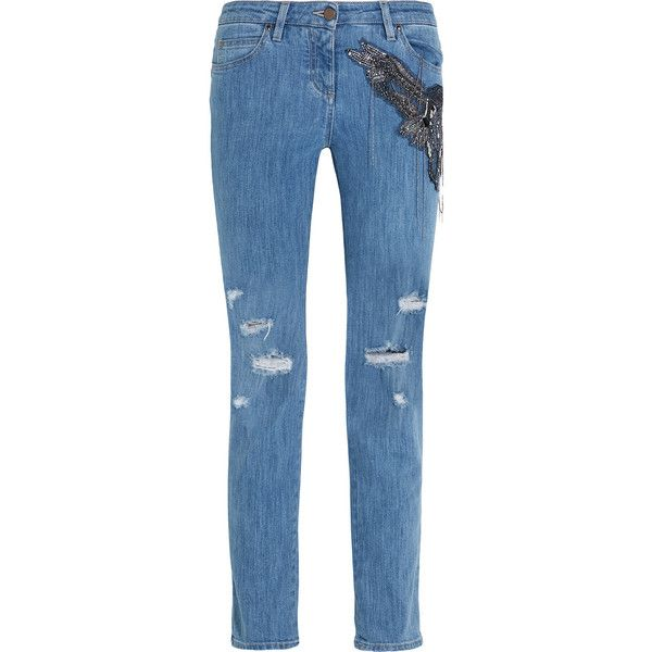 Roberto Cavalli Distressed embellished silk-appliquéd mid-rise... (4.725 BRL) via Polyvore featuring jeans, blue, embellish jeans, roberto cavalli jeans, straight leg jeans, destroyed jeans e button-fly jeans