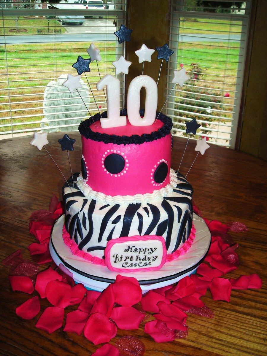 Kids Birthday Cake Pink And Black Zebra This Was A Specific Request For 10 Year Old Girl