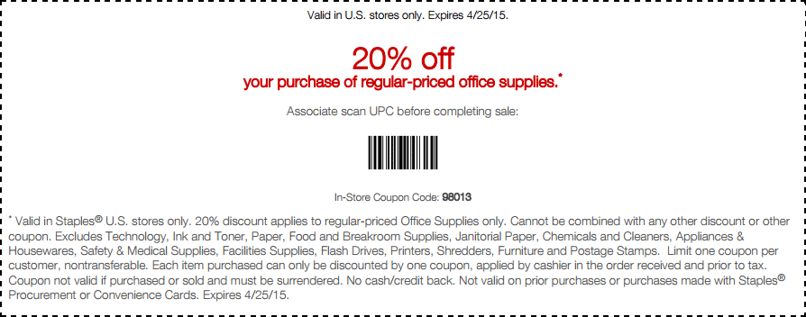 20 Off Office Supplies At Staples Or Online Via Promo Code 58980 Coupon Apps Coupons Coding