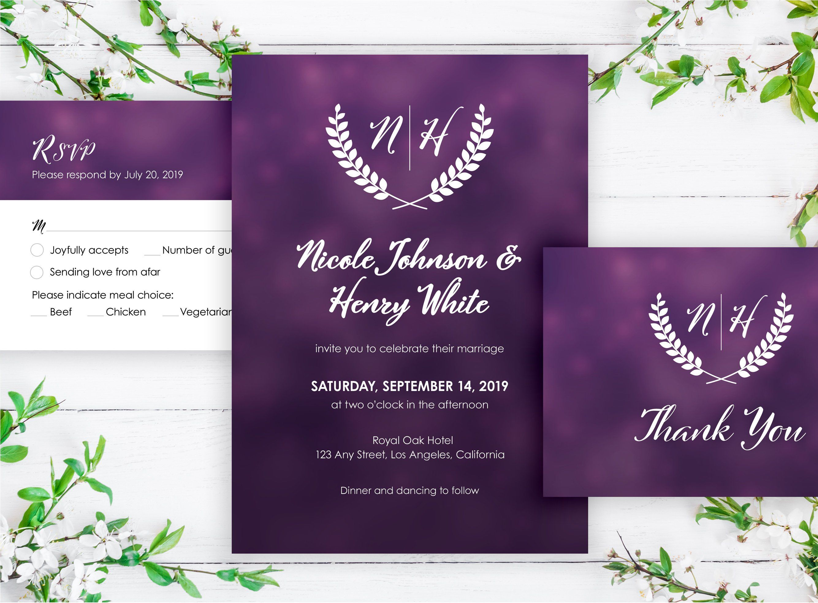 purple wedding invitation template wedding invites with monogram