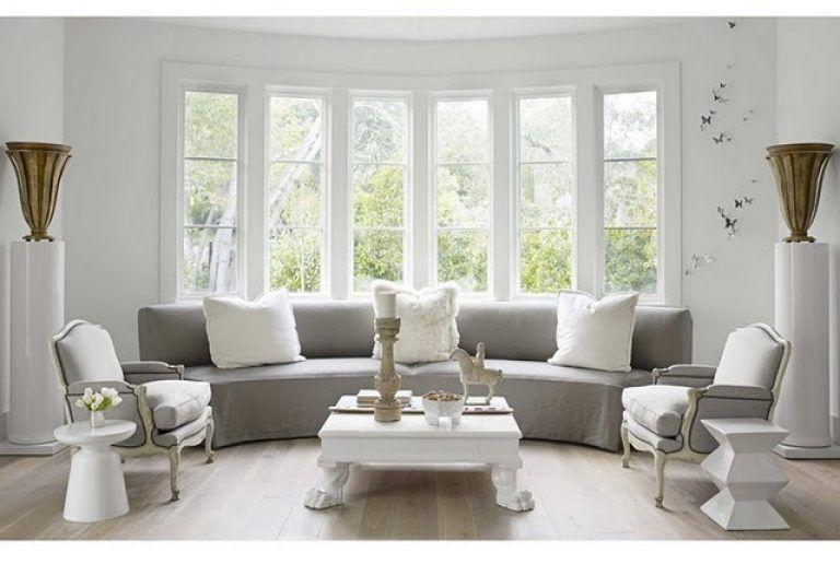 Bay window ideas living room grey tone living room love for Living room bay window ideas