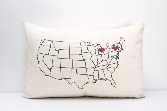 personalized pillow map pillow housewarming gift gift by coverLove