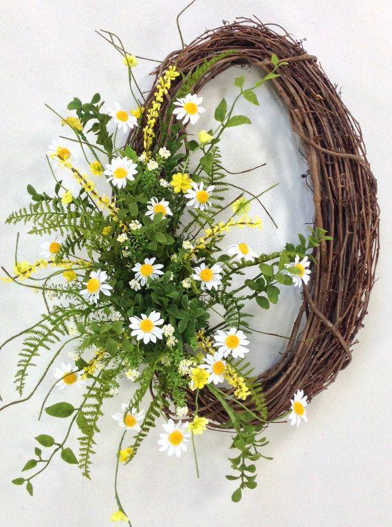Photo of Daisy Wreath, Spring Wreath, Summer Wreath, Wedding Wreath, Spring Door Décor, Summer Floral, Daisies, Twig Wreath