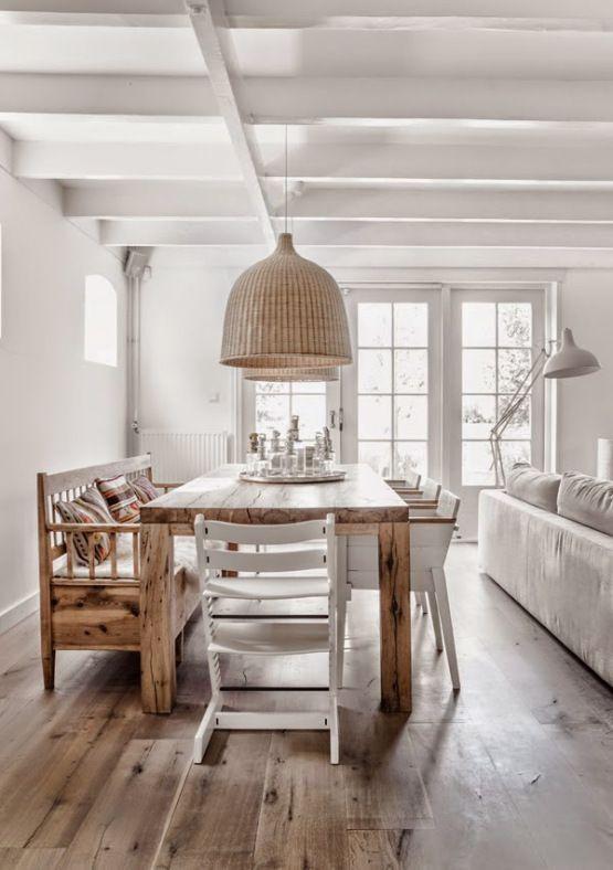 Blanco madera natural y estampados tnicos Saln Salones