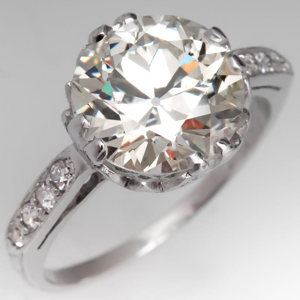 Gia 2 7 Carat Old Euro Diamond 1920 S Engagement Ring Platinum 1920s Engagement Ring Engagement Rings Engagement Rings Platinum