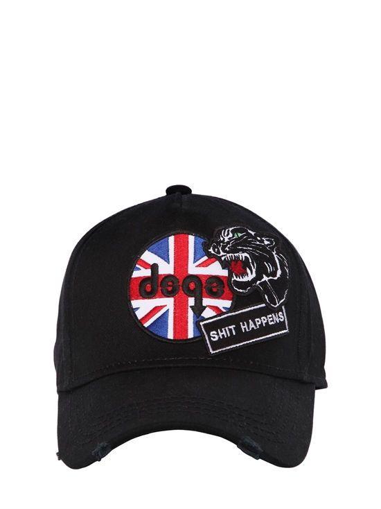 c0112d938 dsquared2 - men - hats - shit happens patches canvas baseball cap ...