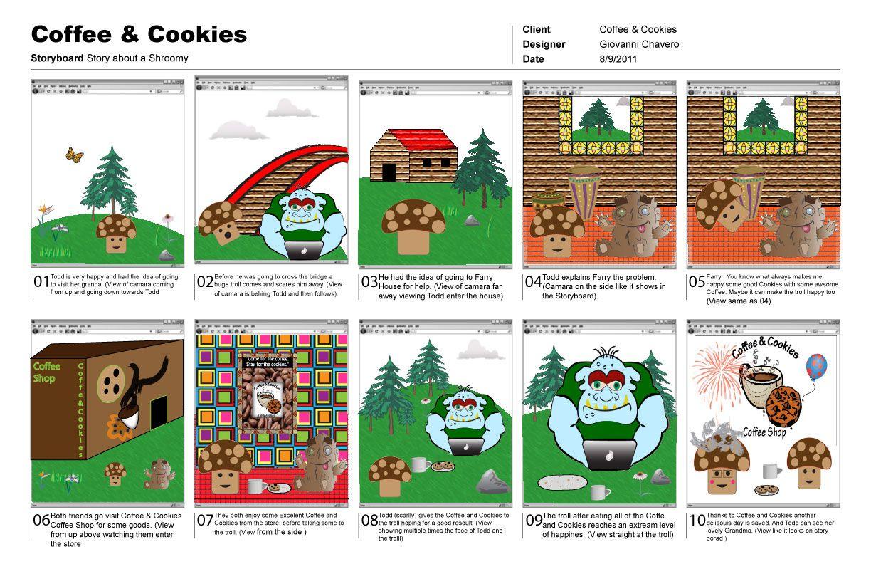 Story Board Using Illustrator Illustration Coffee Cookies Design