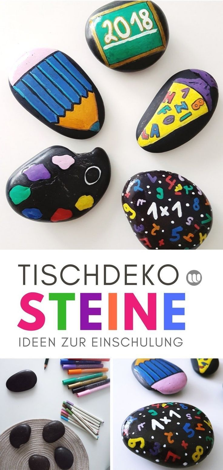 Dekoidee for training DIY table decoration made of painted stones  Ideen zur Einschulung  Schulanfang