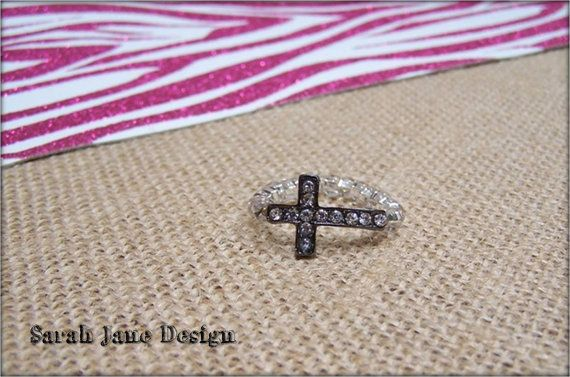 Sideways Cross ring cross sparkly cross by SarahJaneDesign on Etsy, $4.99