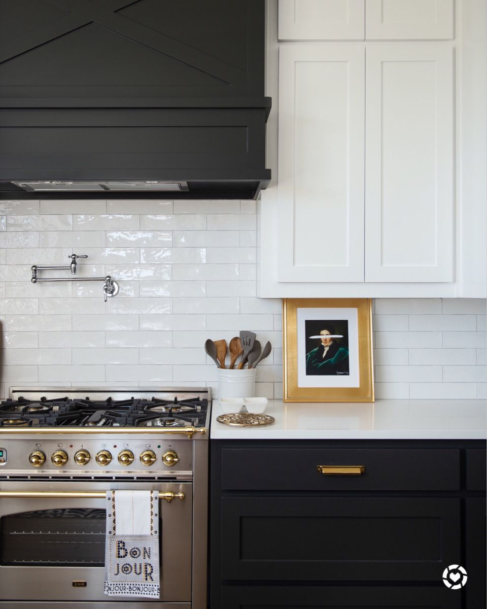 Modern Tuxedo Kitchen In 2020 White Kitchen Remodeling White Tile Kitchen Backsplash White Kitchen Tiles