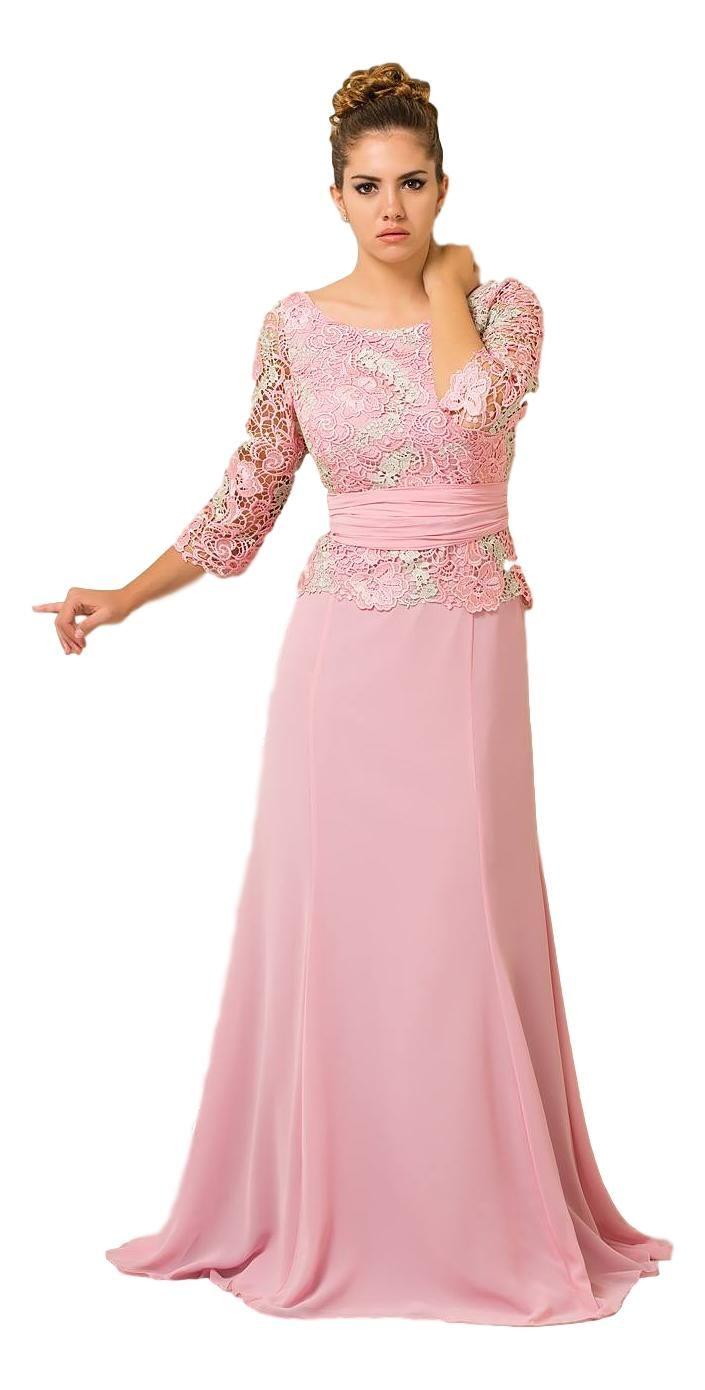 Vestido largo de gasa y guipur en tono rosa palo. 8055 Luisa Jaro ... 351be043c96