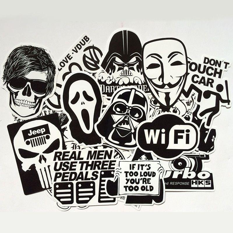 60 Pcs Lot Black And White Cool Sticker Skateboard Graffiti Decal