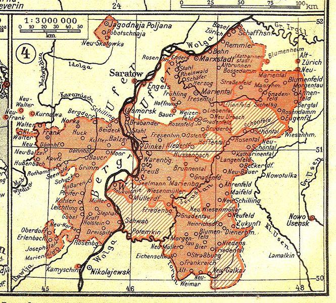 Karte Der Wolgadeutschen Republik Mit Rot Sind Territorien Mit