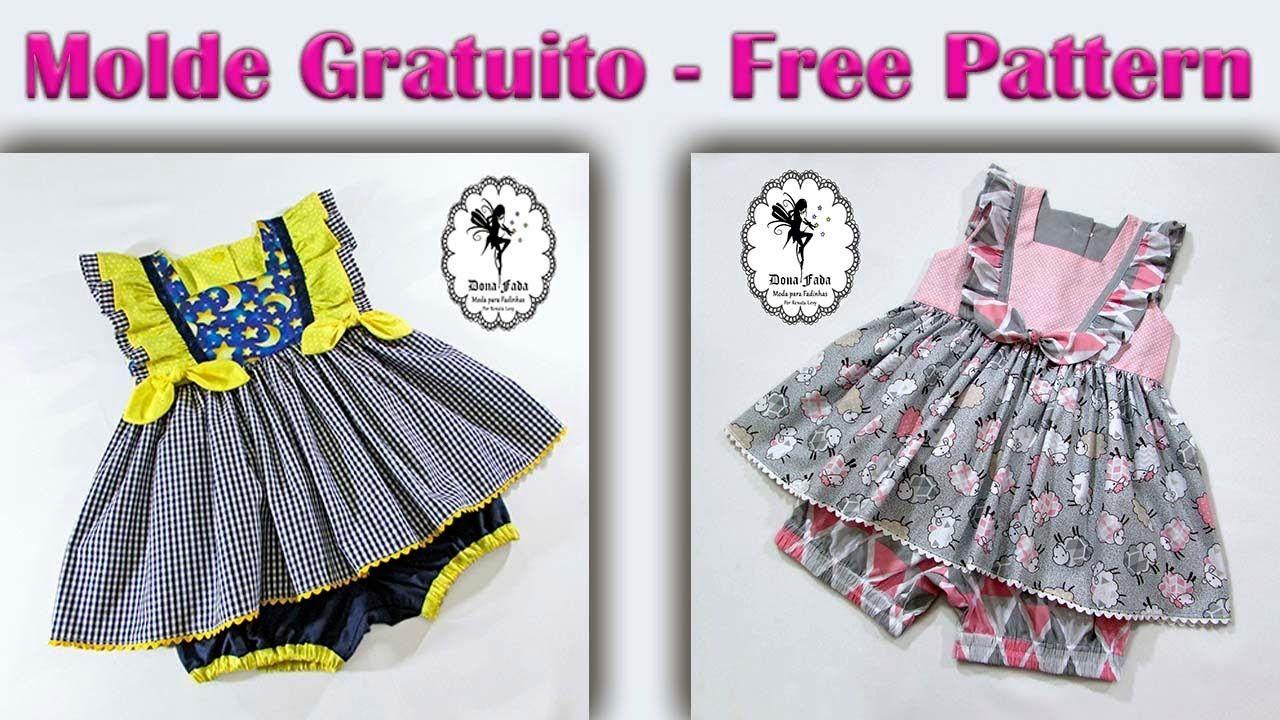 Grabriela Baby Vestido e Tapa Fraldas 1 a 4 anos Molde Gratuito para ...