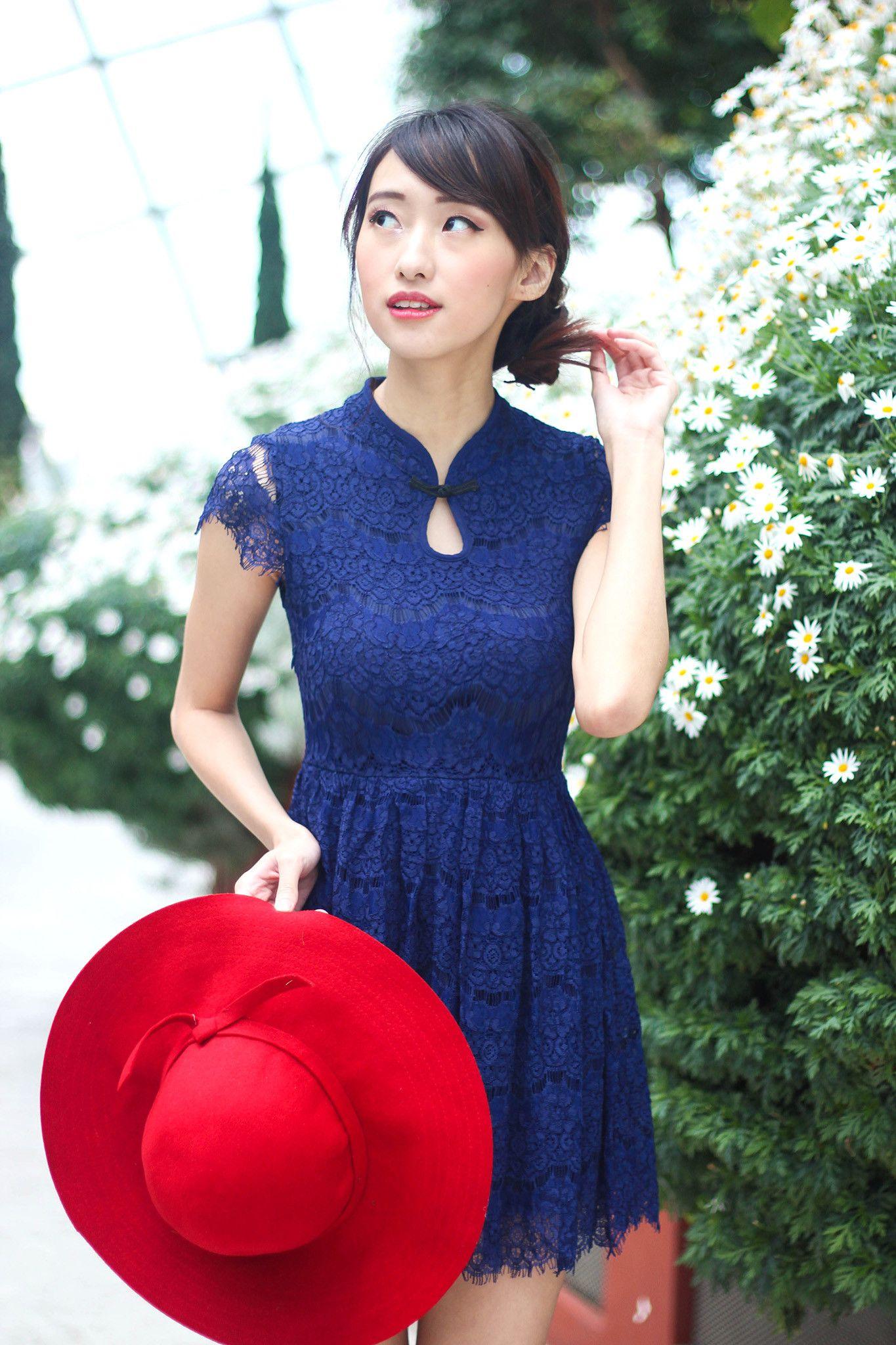 Lace Eyelash Cheongsam Flare Dress