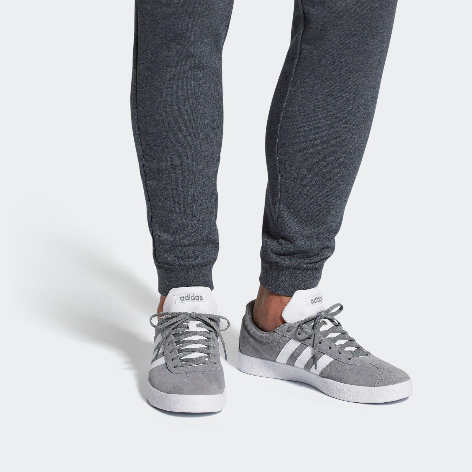1461741d0ab9 Mens Adidas VL Court 2.0 Grey Suede Sport Athletic Skate Shoes B43807 Sz  9-11.5
