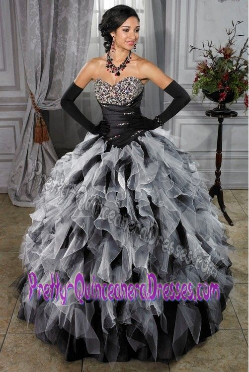 6a49692238e High Quality Organza White and Black Quinceanera Dress in Brasilia Brazil  with Beads
