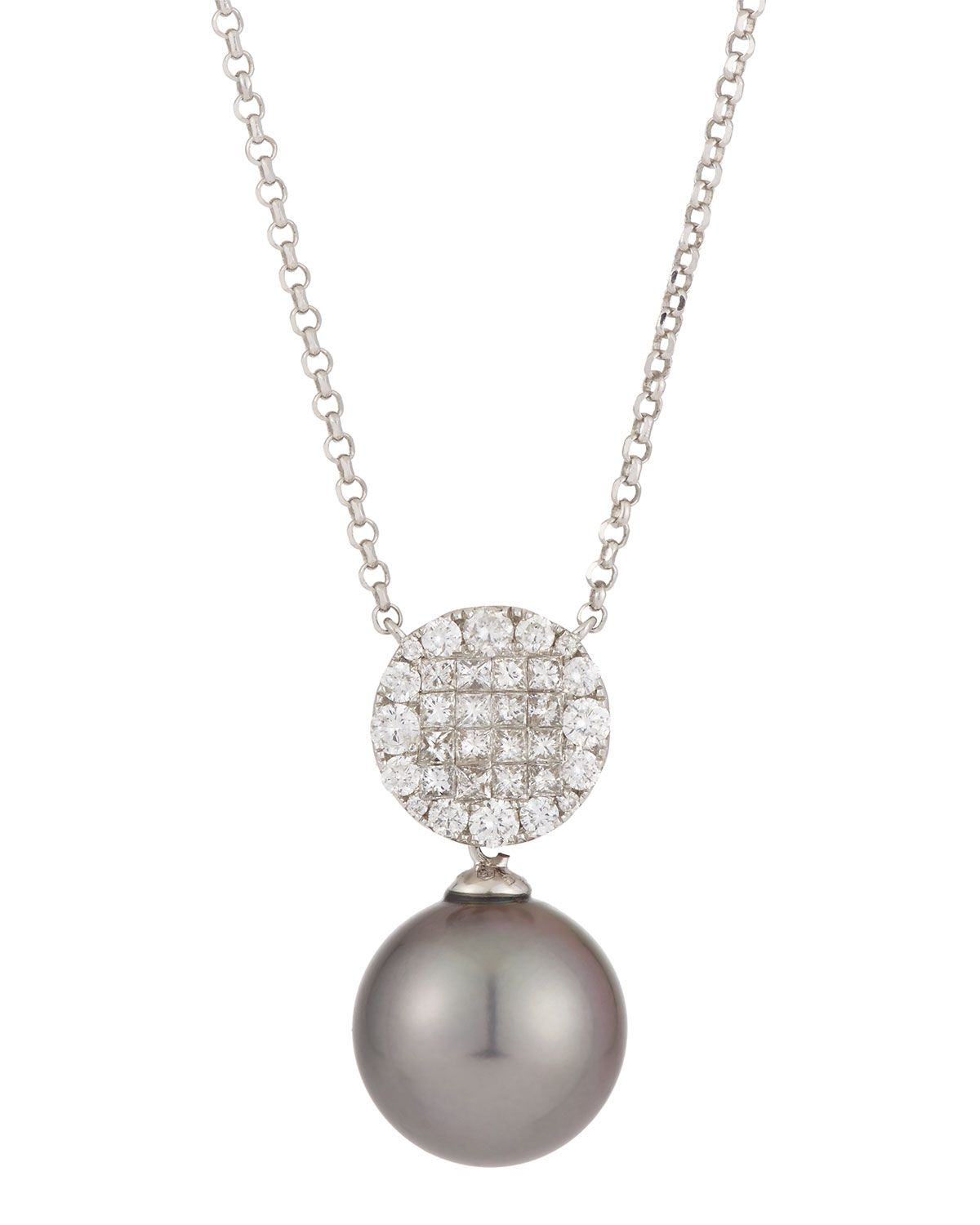Belpearl 18k White Gold Stationary Tahitian Black Pearl Pendant Necklace w/ Mixed-Cut Diamonds jkRxS6aD