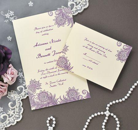 Diy Purple Ivory Flourish Invitations Kit Convite De Casamento Papelaria De Casamento Loja De Convite