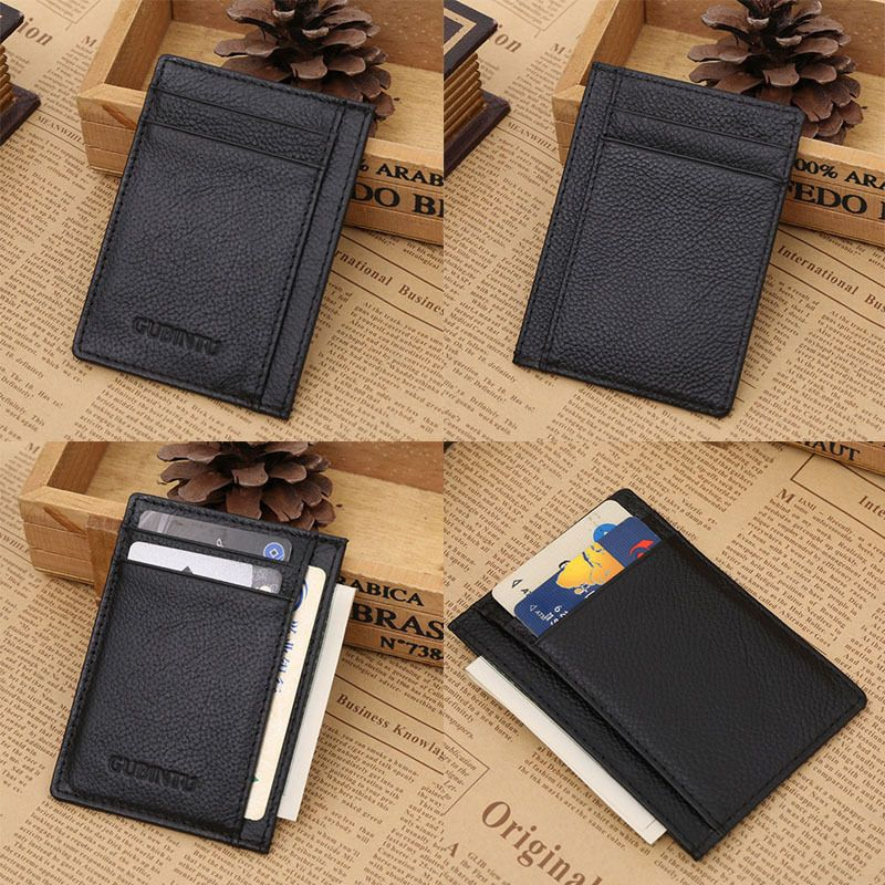 Slim Wallet Money Clip Credit Cards Holder ID Business Mens Leather Coins Purse