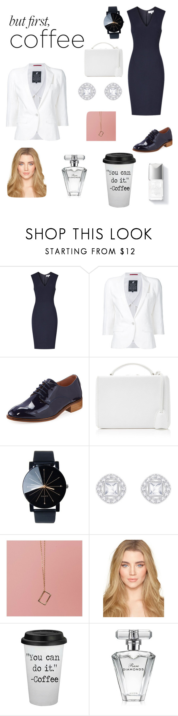 """""""Coffee time"""" by rainnevans ❤ liked on Polyvore featuring Loveless, André Assous, Mark Cross, Couture Colour and Avon"""