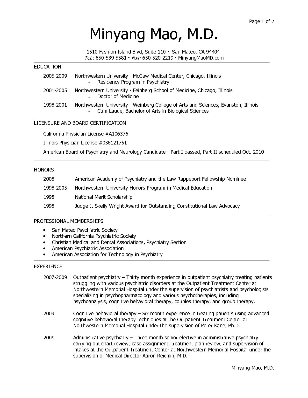sample resume medical fellowship