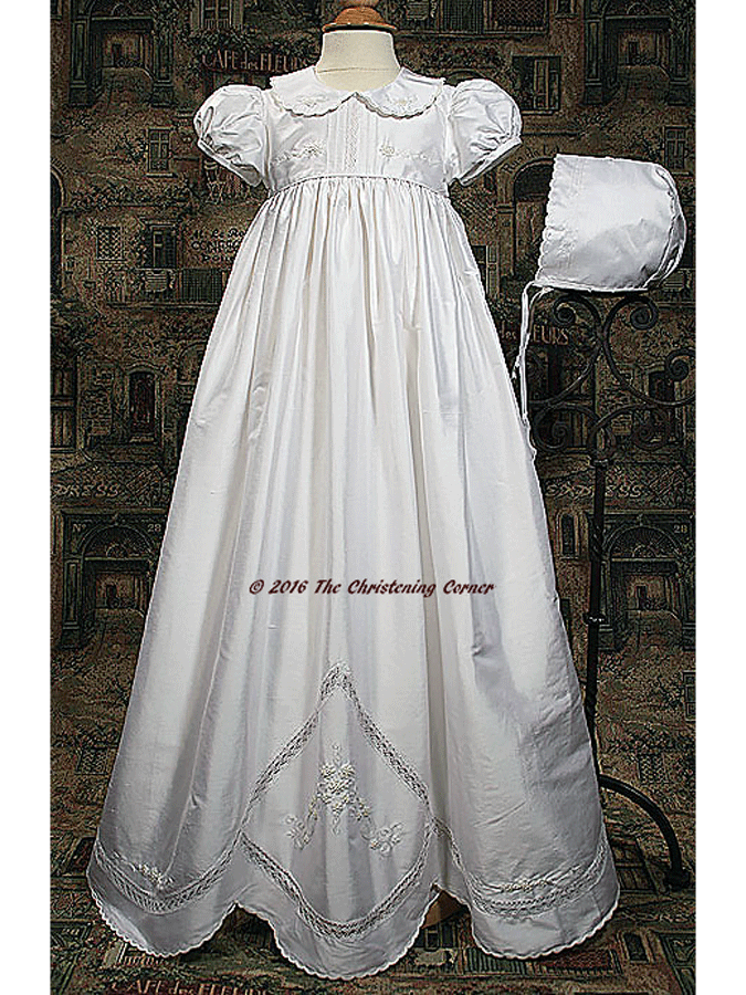 Little Things Mean A Lot Girls White Silk Dupioni Dress Christening Gown Baptism Gown with Hand Embroidery