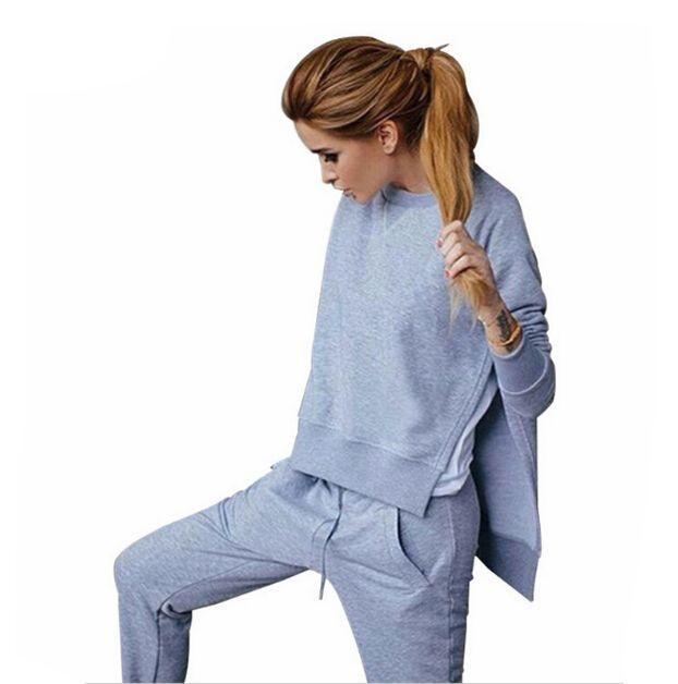 Frauen 2 Stück Sets Sportswear frühjahr Trainingsanzug 2017 Warme Pullover Sport Anzüge Weiblichen Unregelmäßigen Rand Hoodies Kostüme