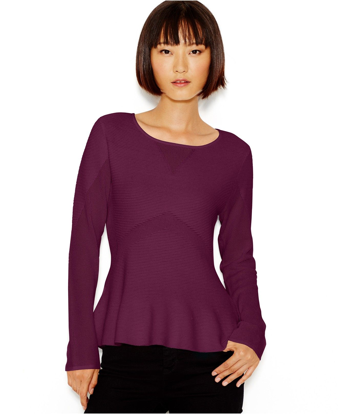 Bar III Long-Sleeve Peplum Sweater, Only at Macy's - Bar III - Women - Macy's