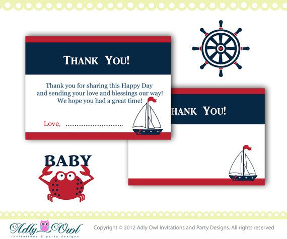 nautical baby shower thank you cards in navy, blue, red, with crab, Baby shower invitations
