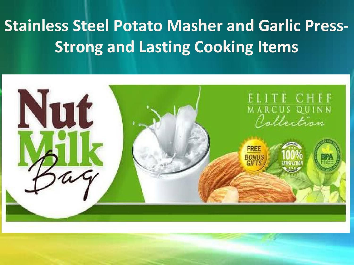 Stainless steel potato masher and garlic press strong and lasting cooking items  Looking for a stainless steel potato masher? We provide the best potato masher for quick and easy mashing. Perfect for small, large or jumbo potatoes. Rustproof and dishwasher safe. Explore Elitechefcollection.com now.