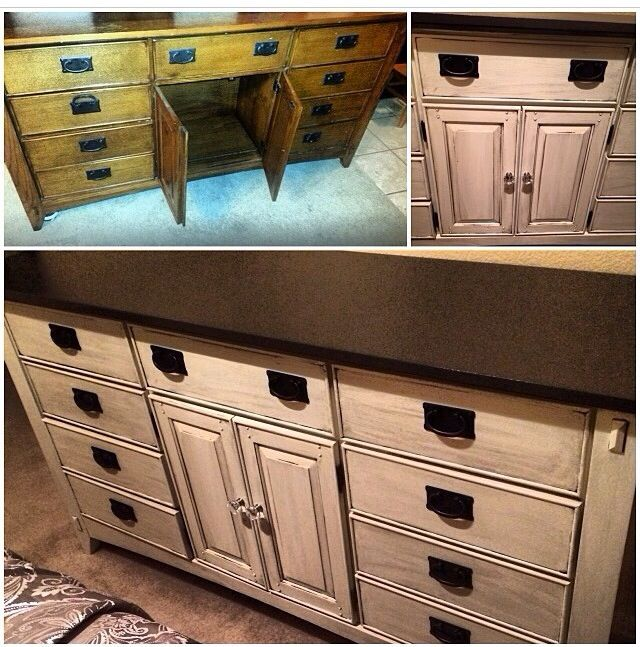 First Piece Of Furniture Refinished Before And After Espresso Brown Top White Paint With Glaze On Bottom Love How It Came Out