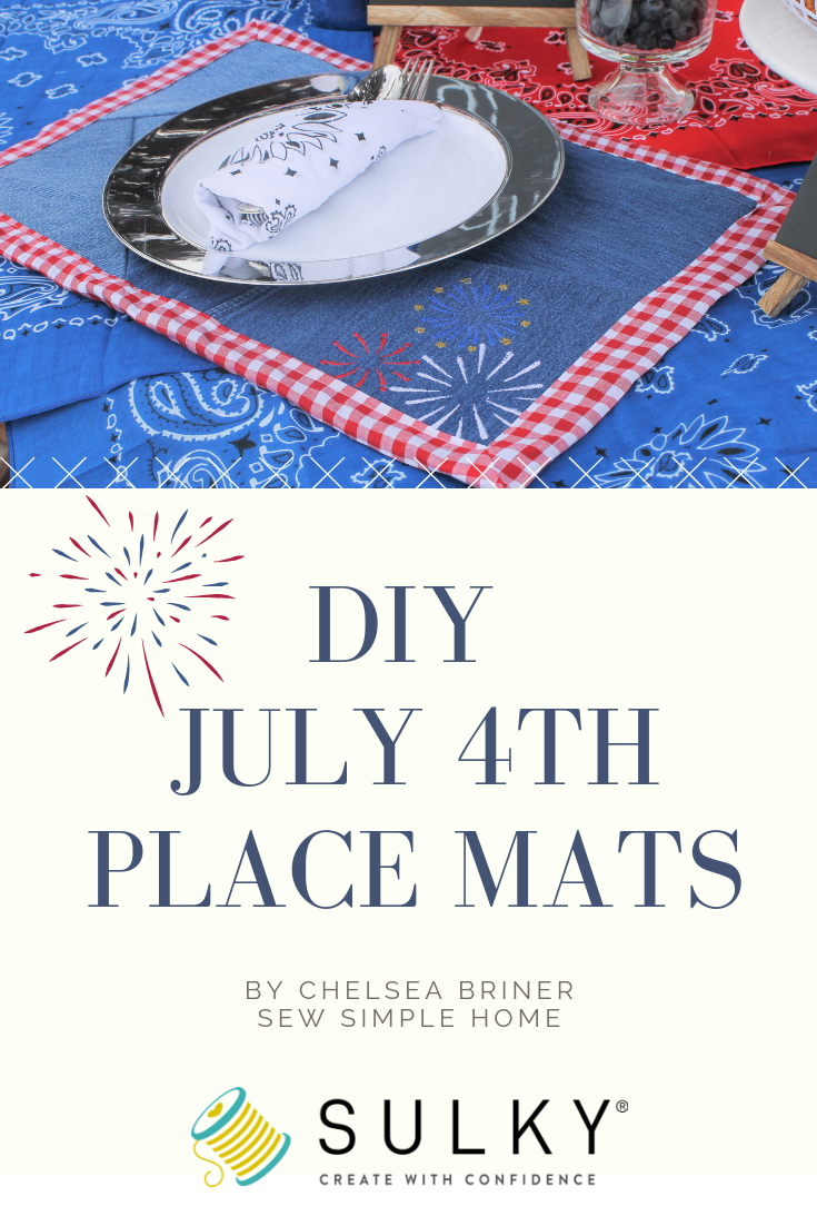 Diy 4th Of July Denim Placemats Denim Placemats Free Machine Embroidery Designs Easy Sewing