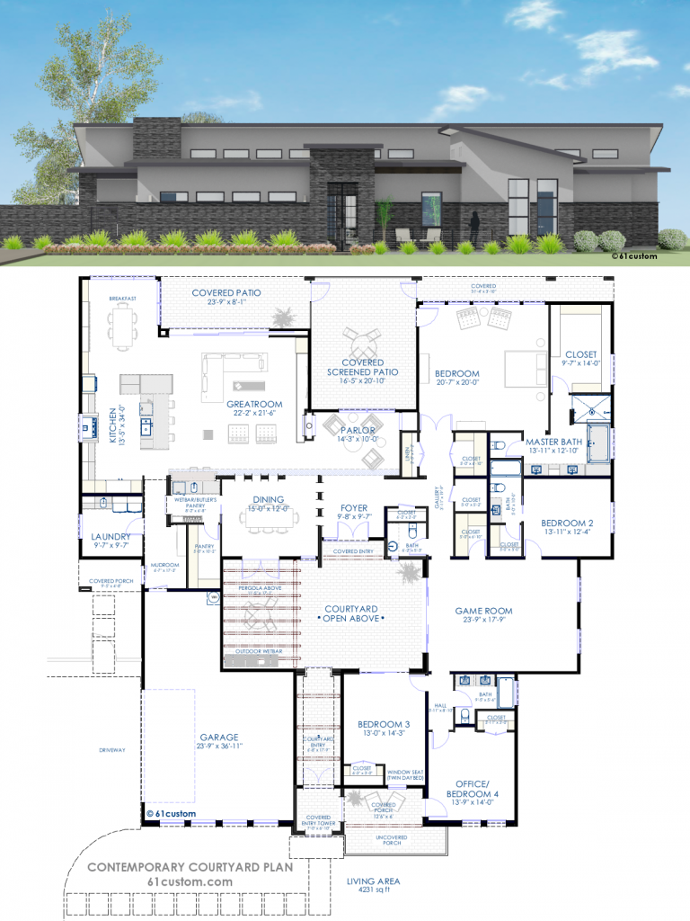 Floor Plan Friday 4 Bedroom Rumpus Contemporary Courtyard Courtyard House Plans House Plans Australia Australian House Plans
