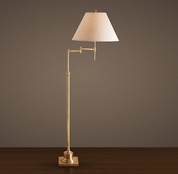 Library Swing-Arm Floor Lamp Antique Brass (available at RH Outlet ...