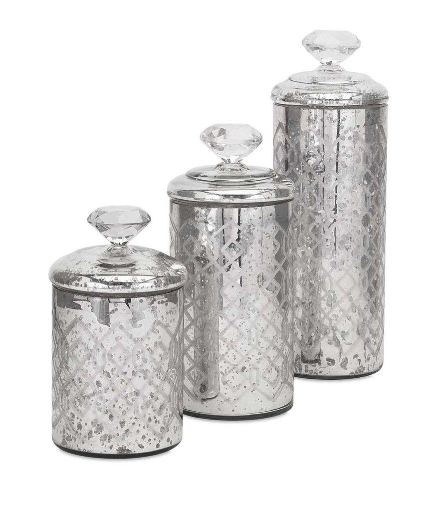 IMAX Nikki Chu Waldorf Mercury Glass Canisters - Set of 3 - for ...