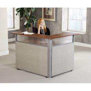 60x48 L Shaped Reception Station Industrial Man Lifts Small Reception Desk Reception Desk Design Small Office Reception Desk