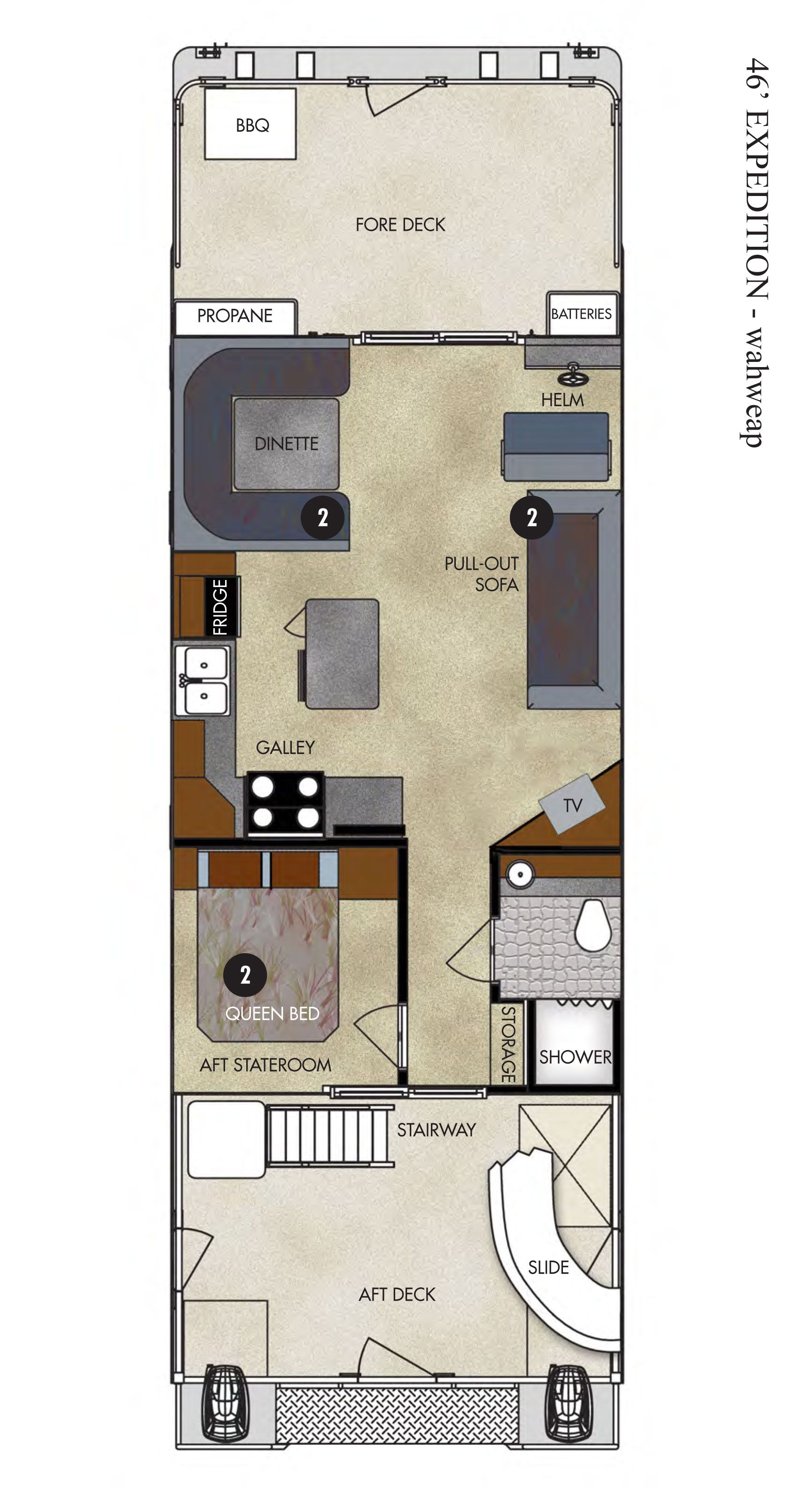 Wahweap Marina 46 Ft Expedition Houseboat Floor Plan Small Houseboats House Floor Plans Floor Plans