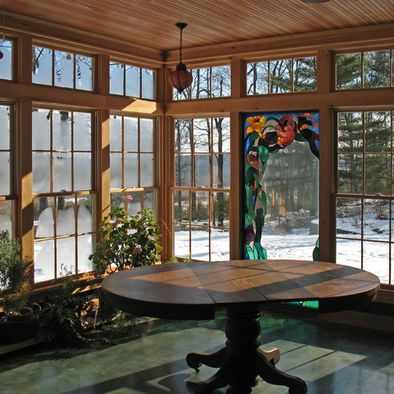 Wintery Glass Enclosed Porch With Snow Outside Traditional Porch